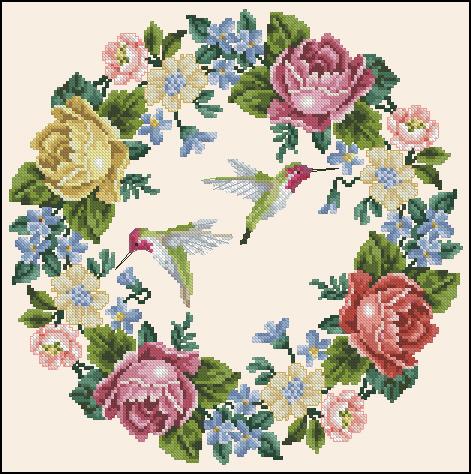 Roses and hummingbird - Te gusta crear punto de cruz ...?